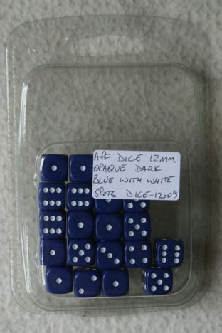 APF Dice-12-09 12mm D6 Opaque Dark Blue with White Spots